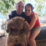 Hugging a wombat at Billabong Sanctuary 2014-04-30