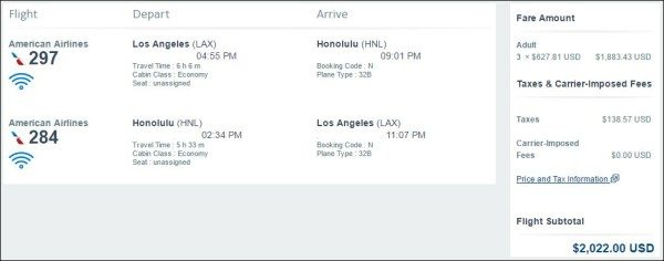 American Airlines LAX to HNL cash price