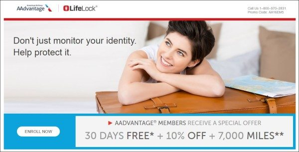 American Airlines Lifelock promotion banner