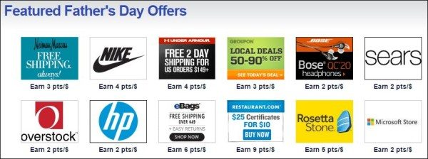 Southwest Rapid Rewards shopping Father's Day