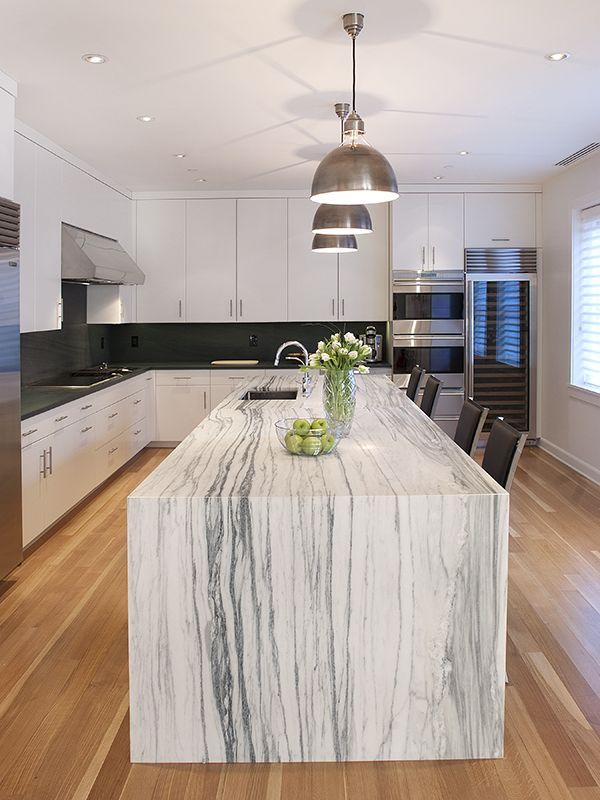 waterfall countertops kitchen renovation
