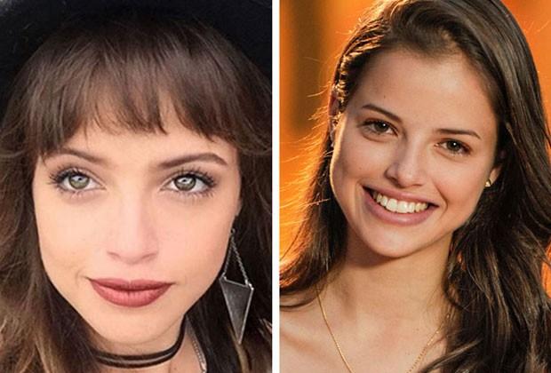 Agatha Moreira tem o rosto mais oval, por isso optou por uma franja mais curtinha (Foto: Reprodução/Instagram/Divulgação TVGlobo)