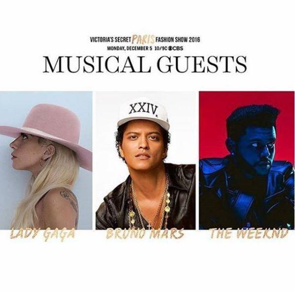 Victoria's Secret Fashion Show reunirá Lady Gaga, Bruno Mars e The Weeknd. (Foto: Reprodução)