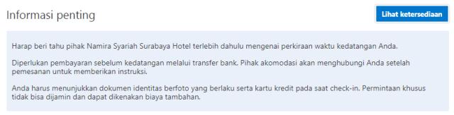 Aturan Namira Syariah Surabaya di Booking.com