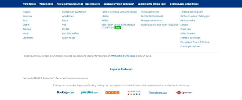 Footer Situs Booking.com