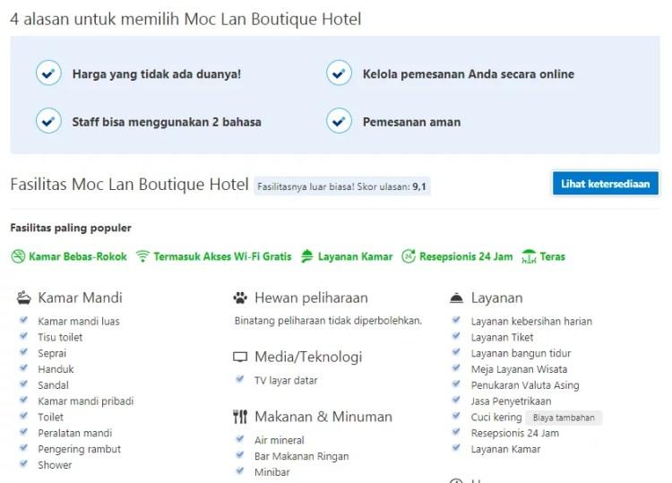 Halaman Hotel Profile Booking.com