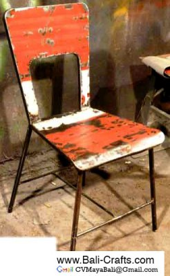 Oildrm1-22 Metal Recycled Oil Drum Dining Chair Bali Indonesia