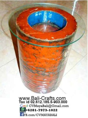 Oildrm1-24 Recycled Oil Drum Furniture Glasstop Table