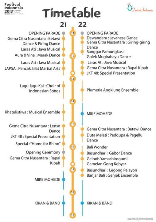 インドネシアフェスティバル2013のタイム・スケジュール