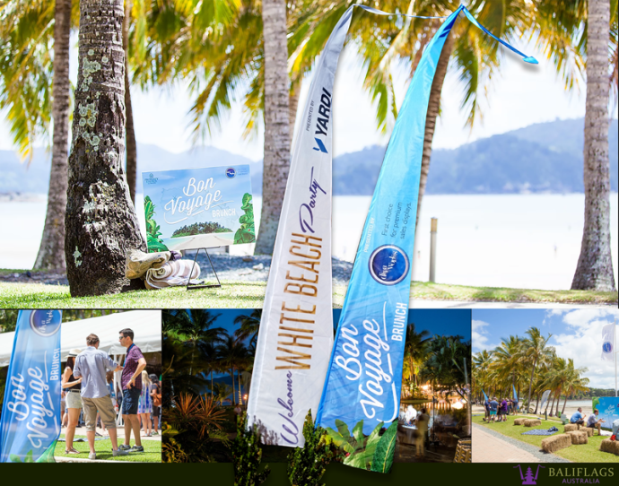 Custom made Bali Flags for 2016 Property Council of Australia Event.