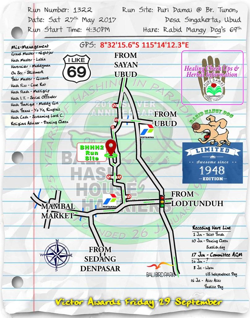 Next Run Map #1322 Puri Damai @ Br. Tunon, Desa Singakerta, Ubud Sat 27-May-2017