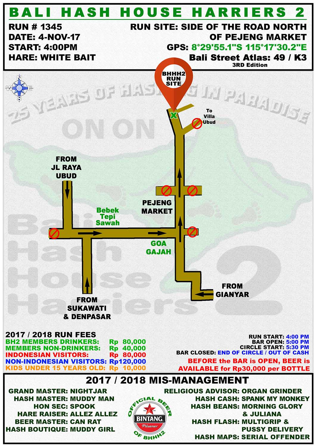BHHH2 Run 1345 Pejeng Gianyar 4-Nov-17 UPDATE