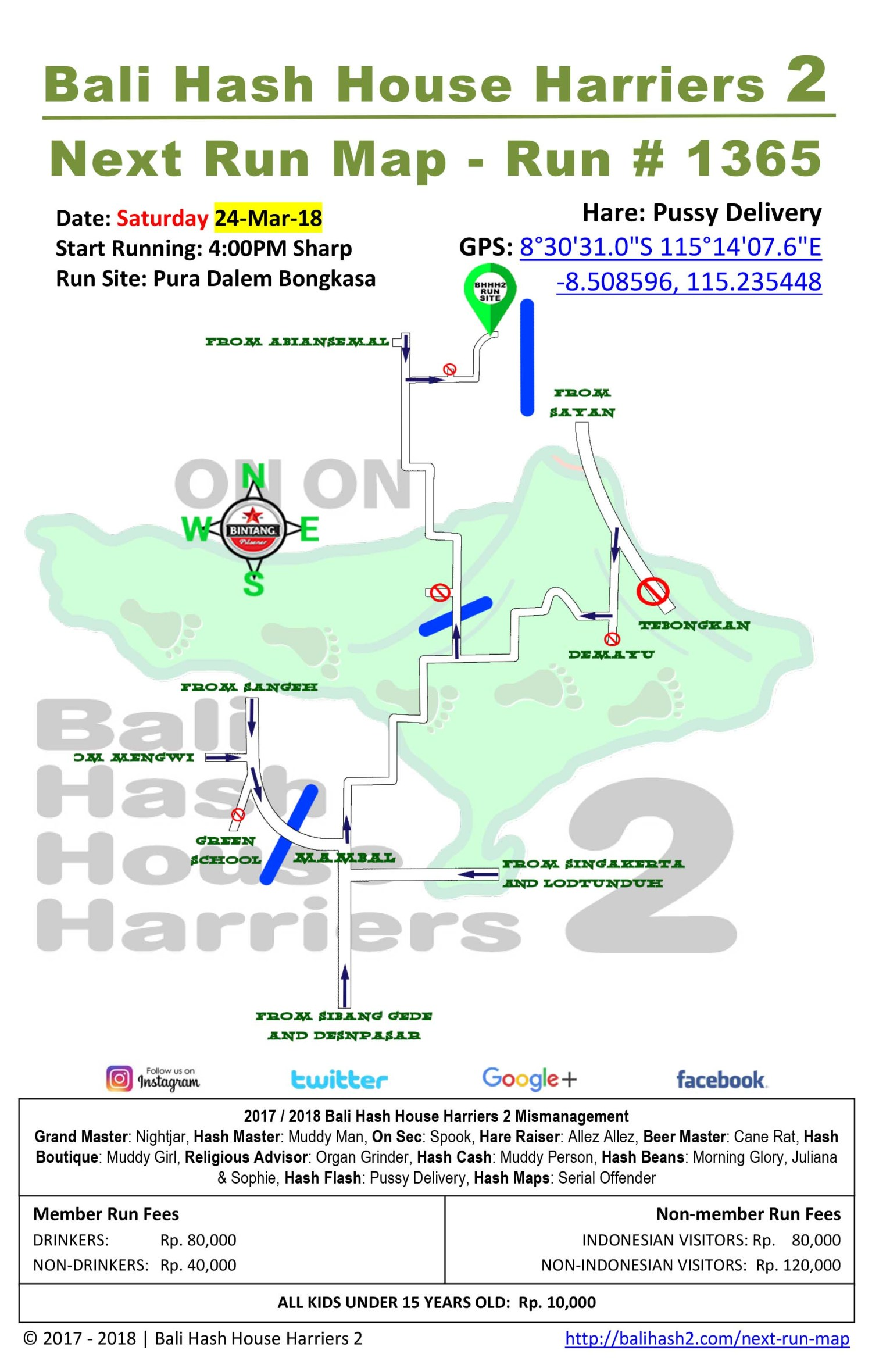BHHH2 Next Run Map 1365 Pura Dalem Bongkasa Saturday 24-Mar-18