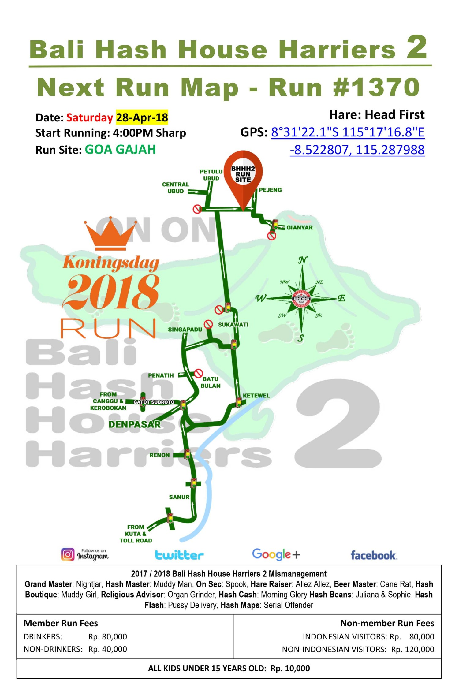 Bali Hash House Harriers 2 BHHH2 Next Run Map #1370 Goa Gajah Saturday 28-Apr-18
