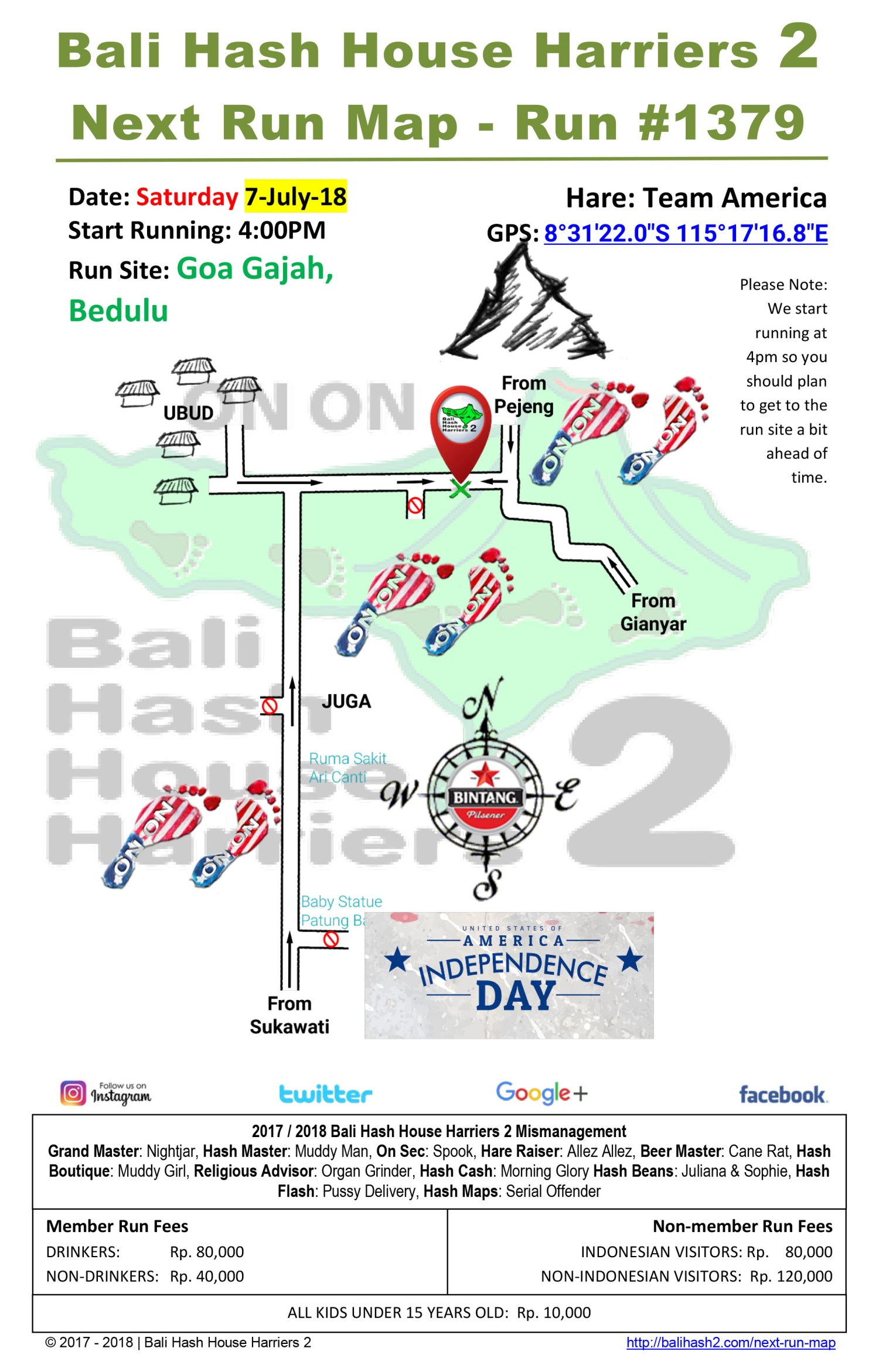Bali Hash House Harriers 2 Next Run Map #1380 Goa Gajah 7-Jul-18