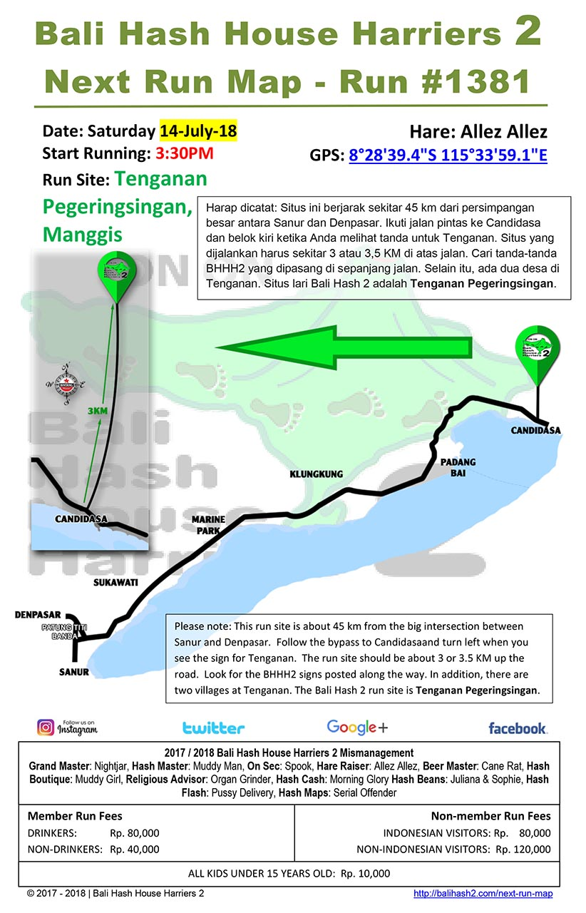 Bali Hash House Harriers 2 Next Run Map #1381 Tenganan Pegeringsingan 14-Jul-18