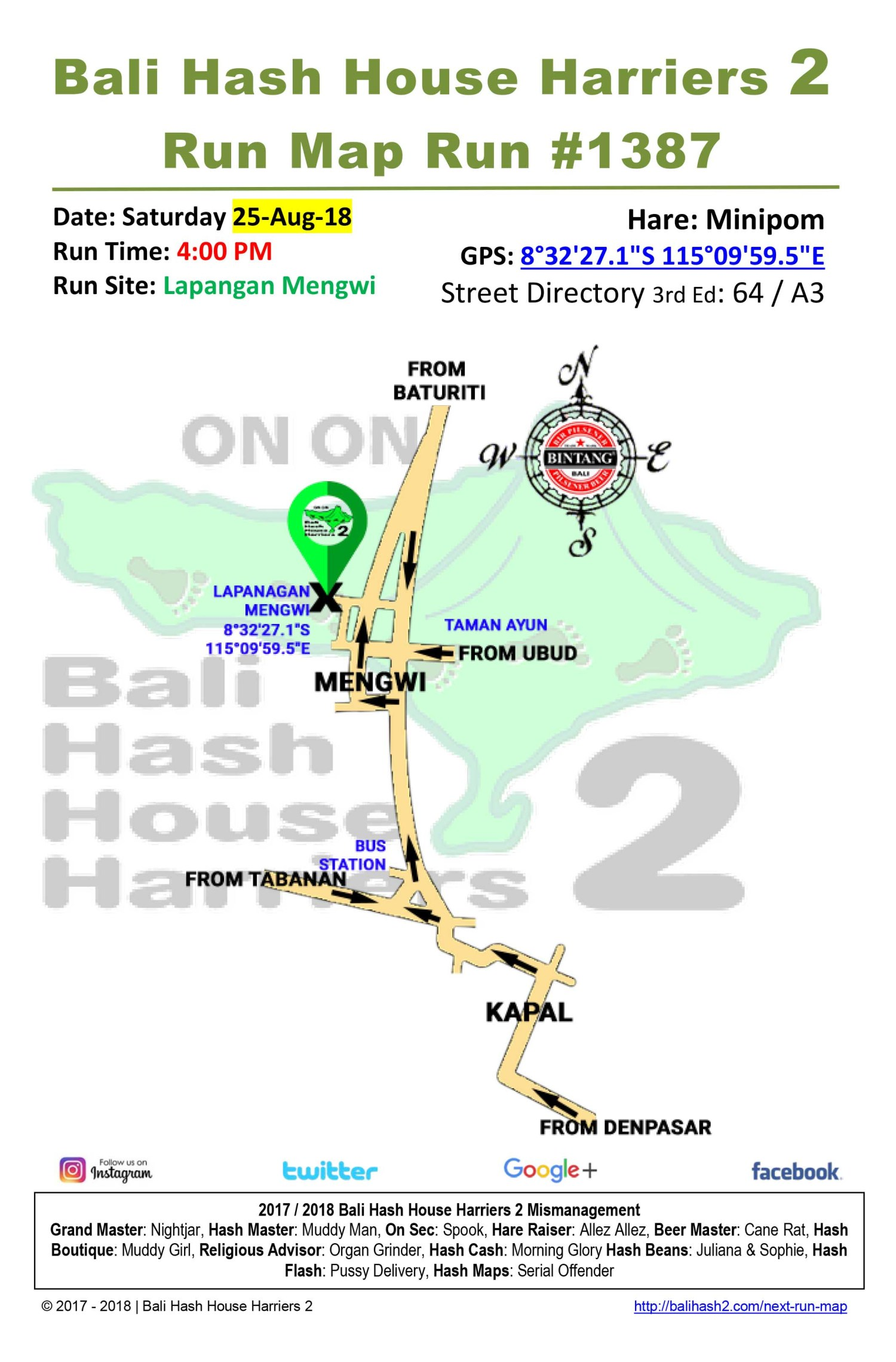 Bali Hash House Harriers 2 Run Map Run #1387 Lapangan Mengwi 25-Aug-18