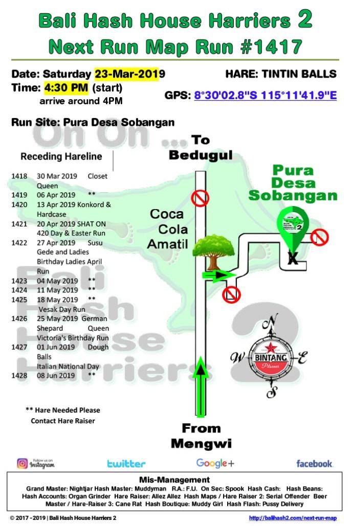 Bali Hash 2 Next Run Map #1417 Pura Desa Sobangan