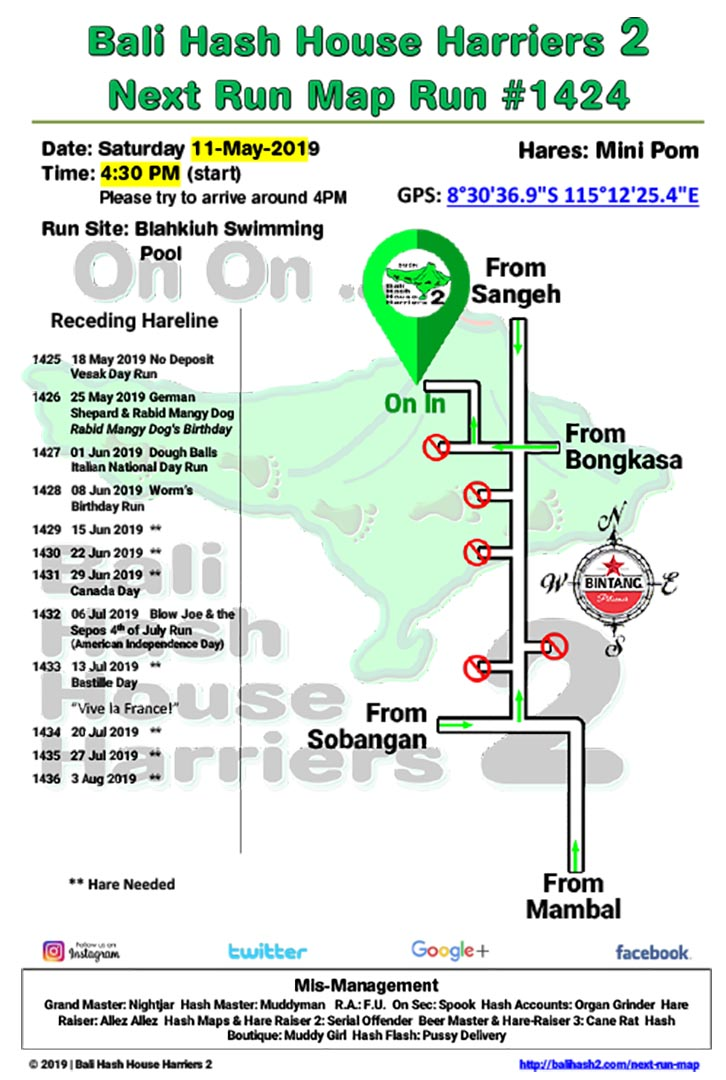 Bali Hash 2 Next Run Map #1424 Blahkiuh Swimming Pool