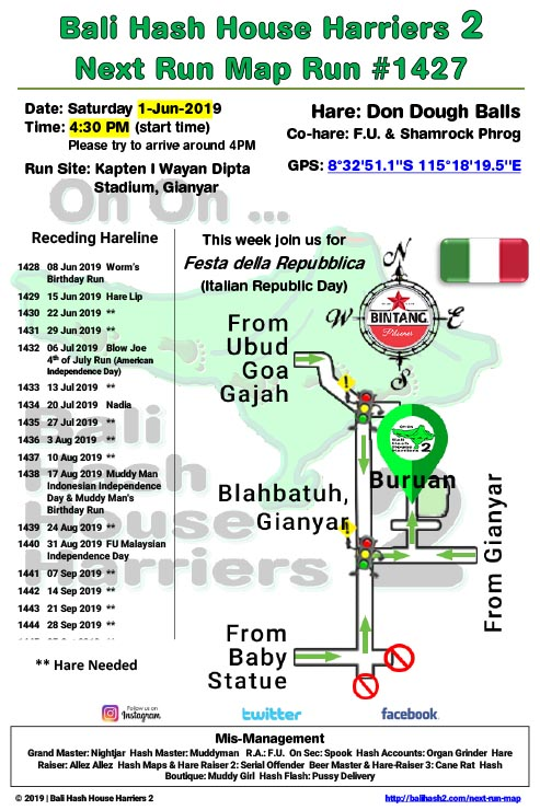 Bali Hash 2 Next Run Map #1427 Kapten I Wayan Dipta Stadium, Gianyar