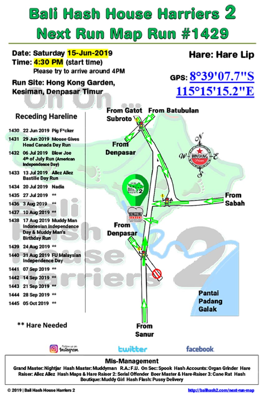 Bali Hash 2 Next Run Map #1429 Hong Kong Garden Kesiman