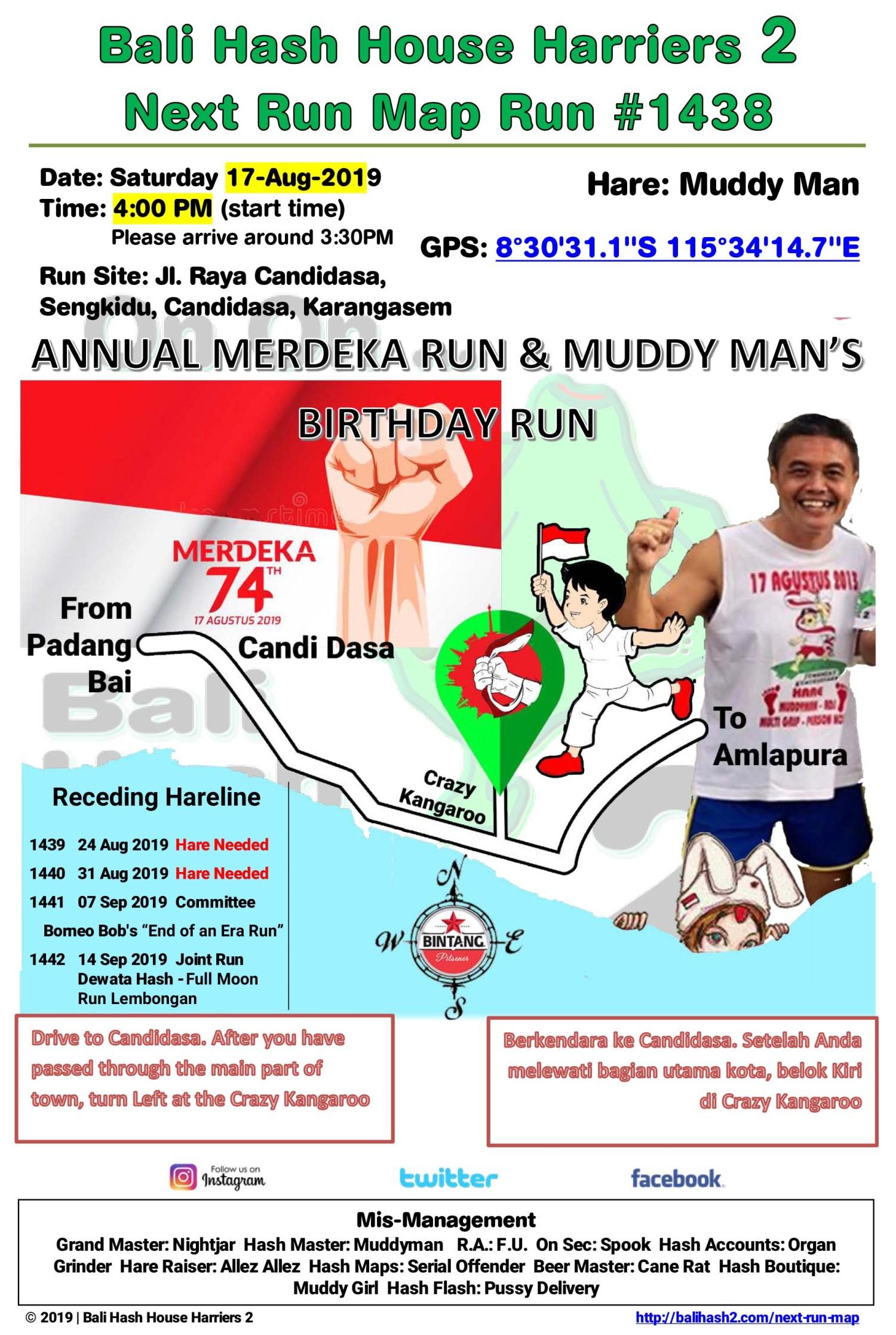 Bali Hash 2 Next Run Map #1438 Hari Merdeka Run Candi Dasa