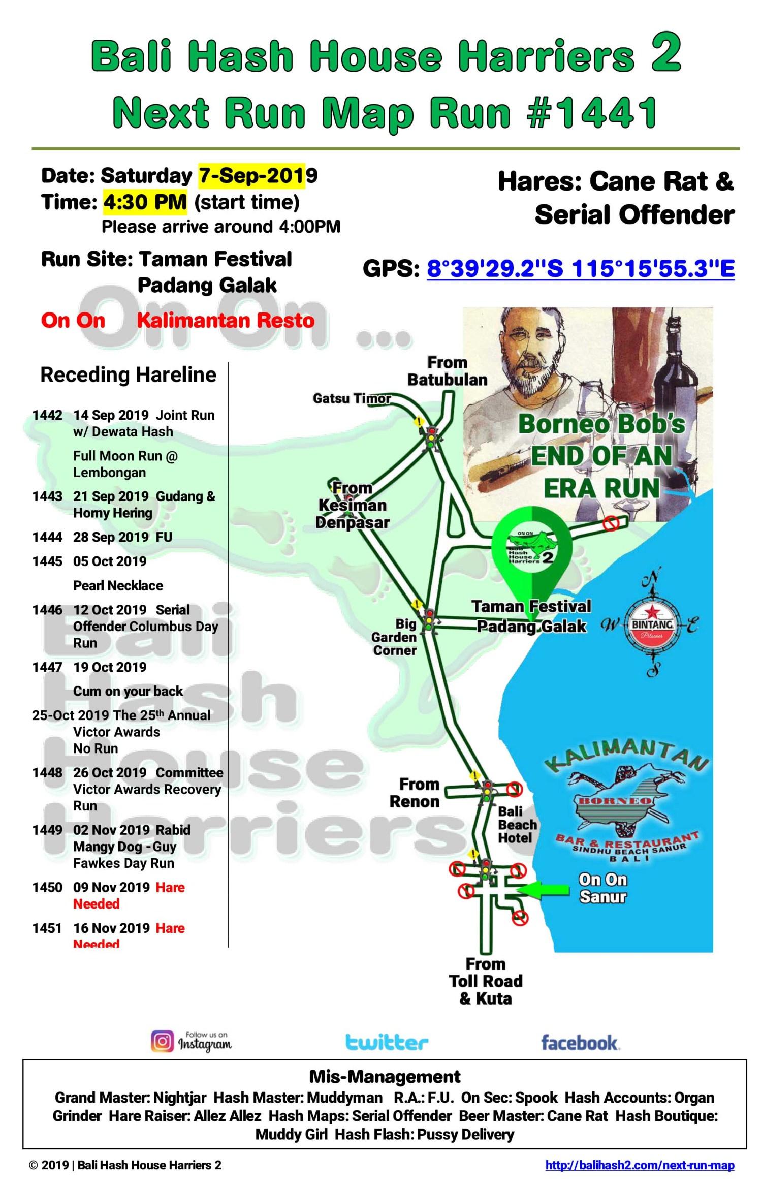 Bali Hash 2 Next Run Map 1441 Taman Festival Padang Galak