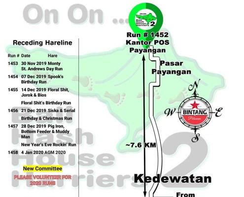 Bali Hash 2 Next Run Map #1452 Kantor POS Payangan
