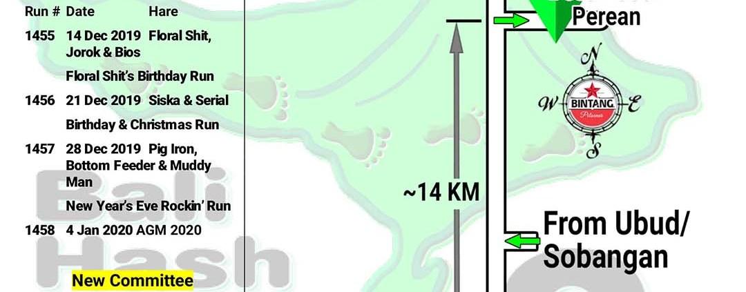 Bali Hash 2 Next Run Map #1454 Lapangan Puseh Perean
