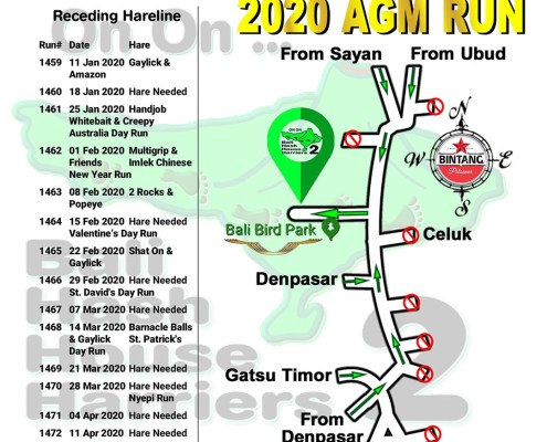 Bali Hash 2 Next Run Map #1458 Bali Bird Park AGM Run