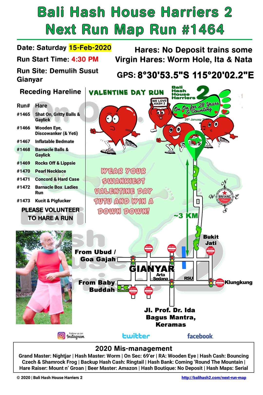 Bali Hash 2 Next Run Map #1464 Demulih Susut Gianyar Valentine Day Run