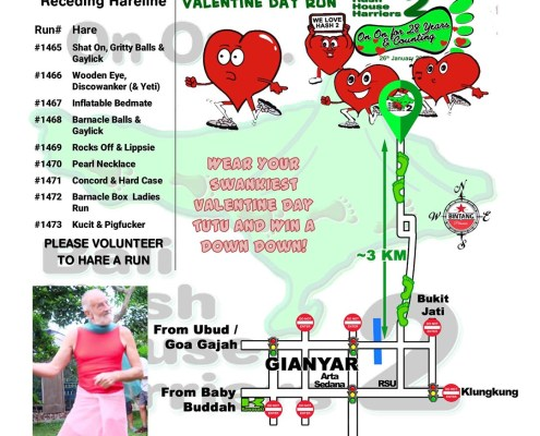 Bali Hash 2 Next Run Map #1464 Demulih Susut Gianyar Valentine Day Run