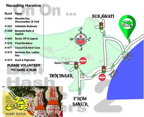 Bali Hash 2 Next Run Map #1465 Sukawati South Close to Rangkan
