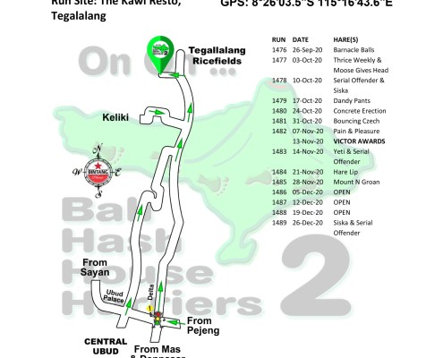 Bali Hash 2 Next Run Map #1475 The Kawi Resto