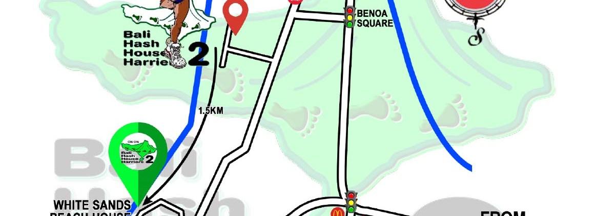 Bali Hash 2 Next Run Map #1483 Victor Awards Recovery Run White Sands Jimbaran