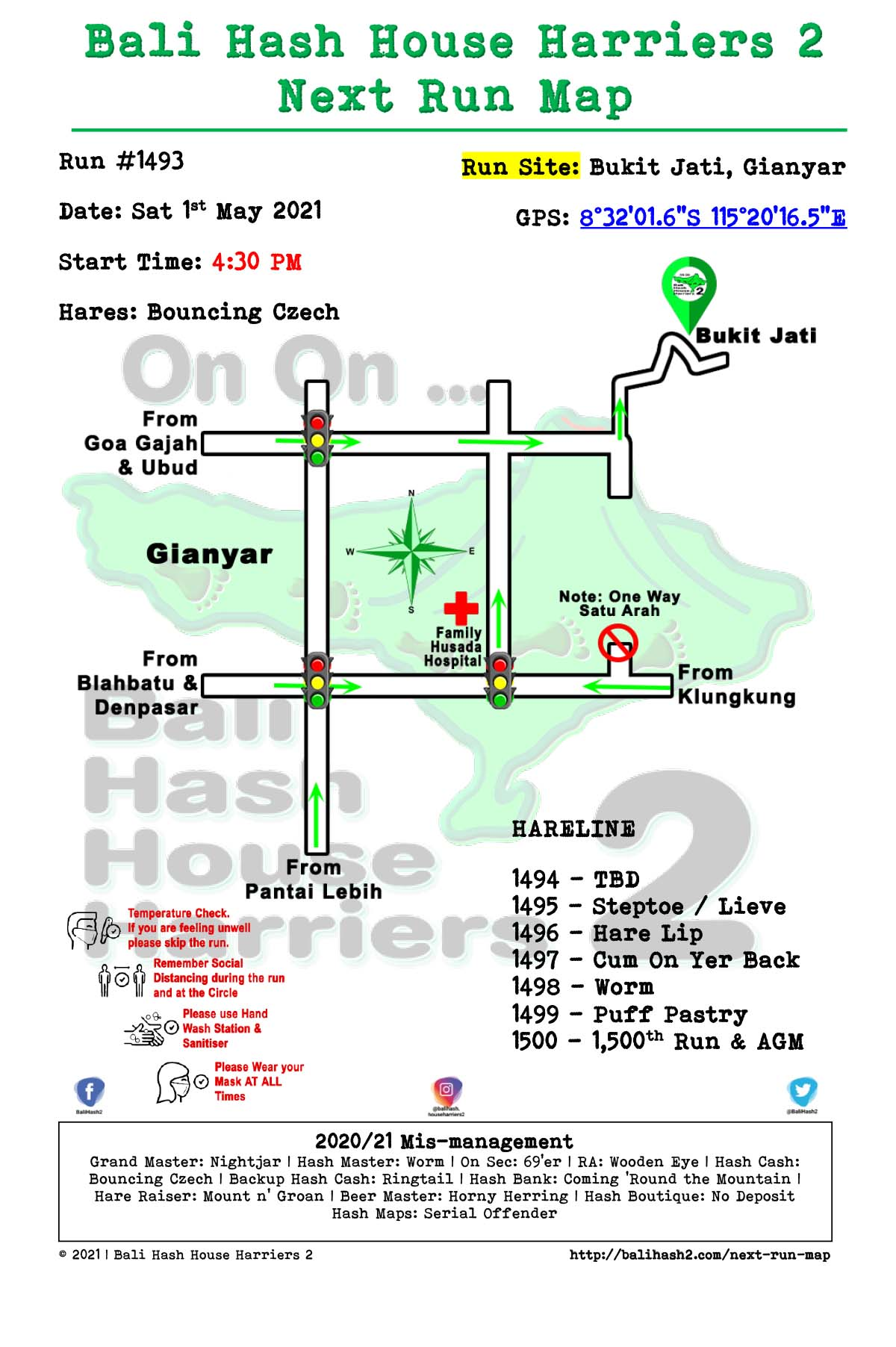 Bali Hash 2 Next Run Map #1493 Bukit Jati Gianyar 1-May-21