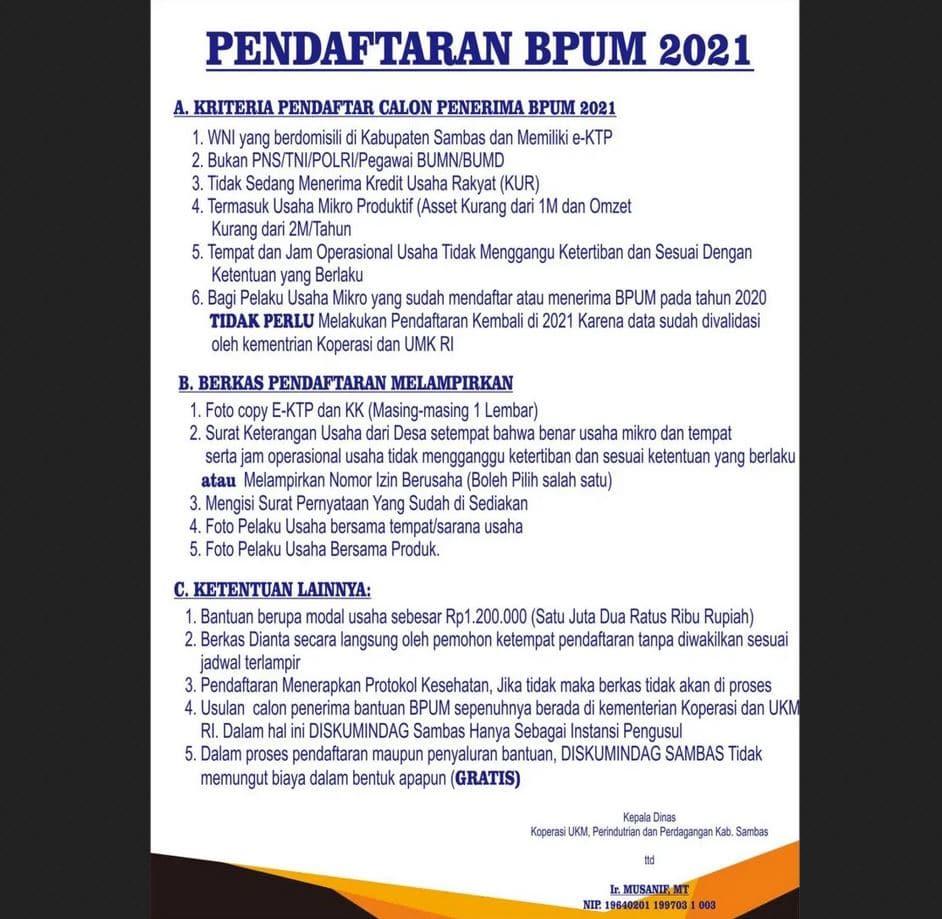 Cara Daftar BPUM Tahap 3 Kab. Sambas Terbaru 2021