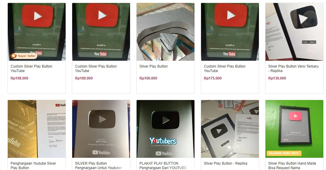 Jual Youtube Play Button