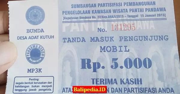 Tiket parkir pantai Pandawa Bali