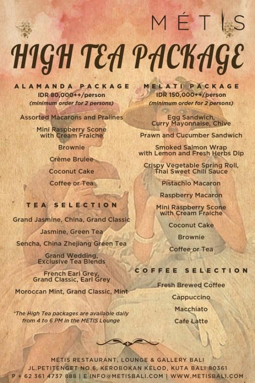 High Tea – METIS – Bali Sunday 17 August 2014, 04:00pm – 06:00pm