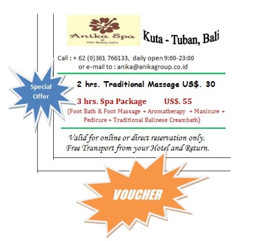 Spa Voucher – 2 Hours taditional Massage – only USD 30