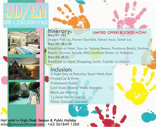 ALL IN PACKAGE 3D/2N Stay at Everyday Smart Hotel, Kuta