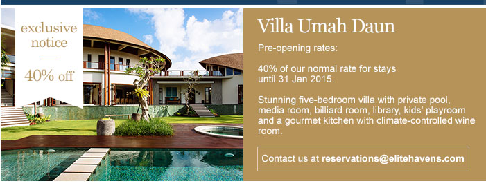 VILLA Umah Daun – 5 bedroom villa – Canggu – 40 % Discount for rent
