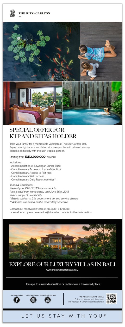 Ritz Carlton Bali. Special Offer for KITAS Holder