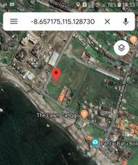 Beach front land 1700 m2 for sale in Canggu Beach Kuta Bali