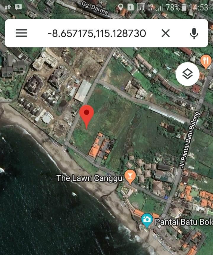 Beach front land 1700 m2 for sale in Canggu Beach Kuta Bali