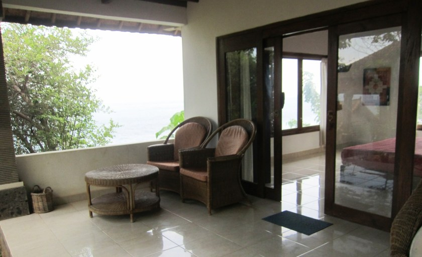 Room n°3 terrace at Wawa wewe rock homestay in Banuyning (Amed area), Karangasem, Bali, Indonesia