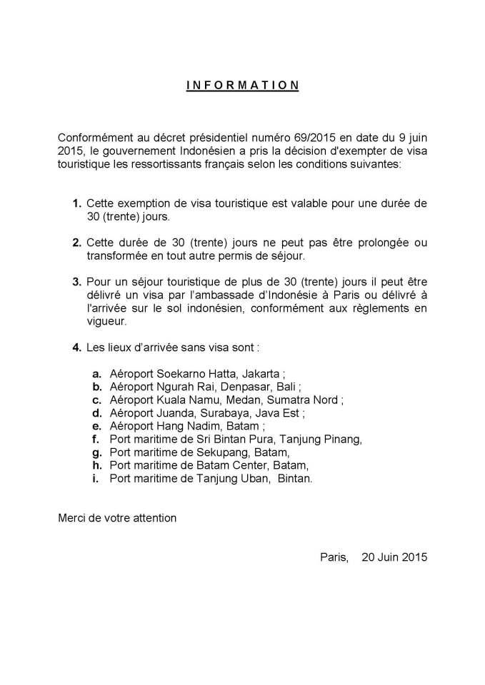 exemption de visa pour l'indonesie
