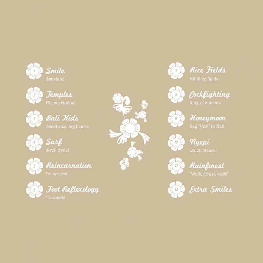 Sommaire du livre : Sourire, les temples, les enfants de Bali, le surf, la reflexologie plantaire, les rizières, les combats de coqs, les lunes de miel, la fête de Nyepi, la forêt tropicale, d'autres sourires en bonus, tout y est ! © Welcome to Smisland