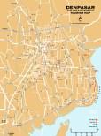 Carte de la ville de Denpasar, la capitale de Bali en Indonésie